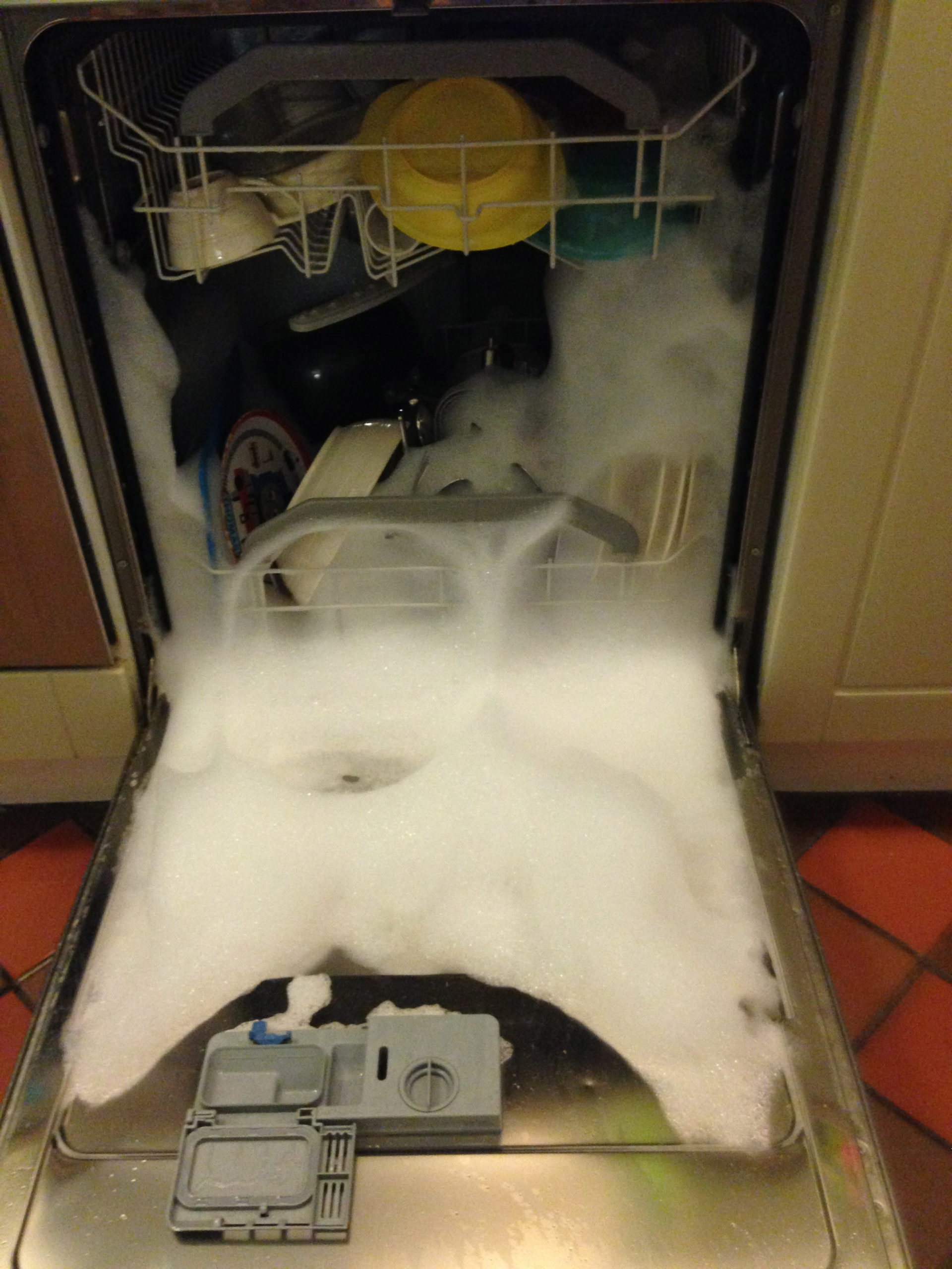 If you run out of dishwasher tablets, washing up liquid isn't the answer